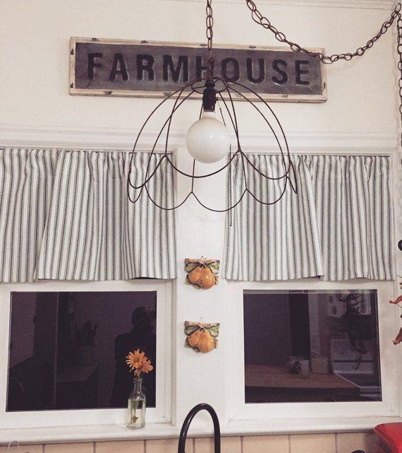 Valance Kitchen Valance Ticking Valance Flat Valance Etsy In 2020 Farmhouse Curtains Farmhouse Kitchen Curtains Kitchen Valances