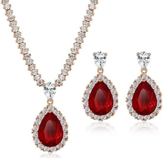 Necklace Jewelry Set Women Luxurious Crystal Fashion Wedding Pendant Water Drop #Unbranded