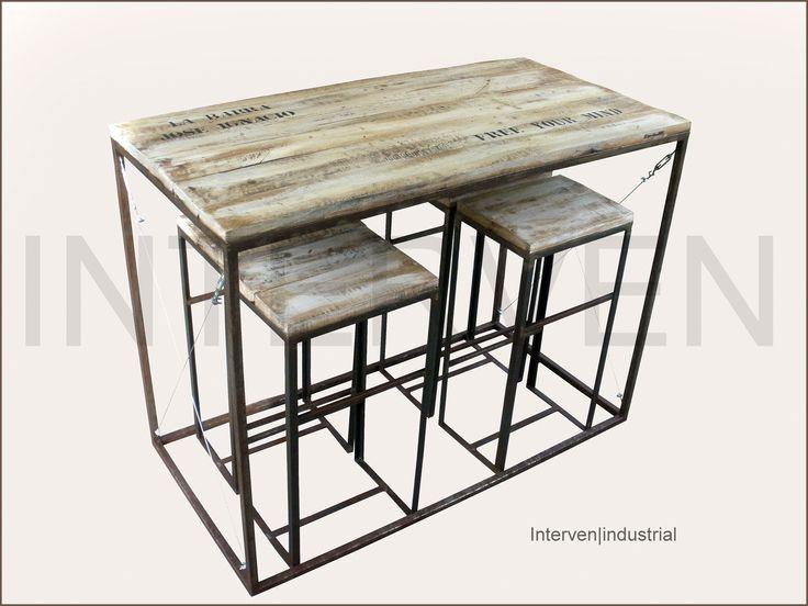 Mesa alta con taburetes interven industrial hierro for Mesa de cocina industrial