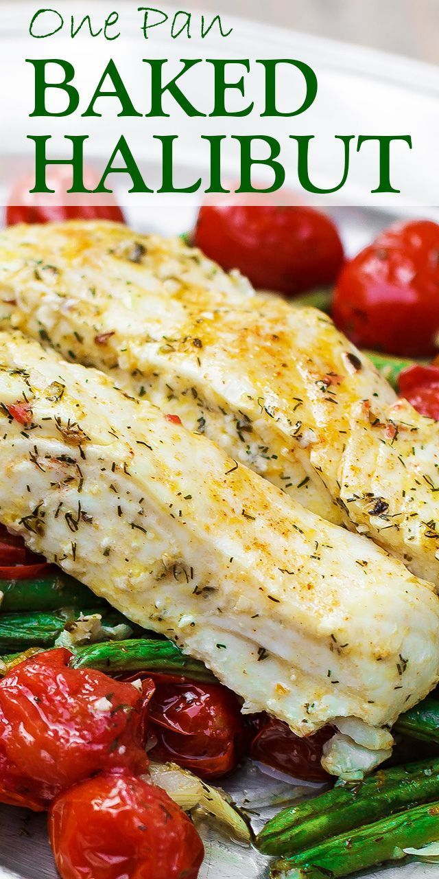 One Pan Baked Halibut Recipe | The Mediterranean Dish. Halibut fillet with green beans and cherry tomatoes baked in a delicious Mediterranean sauce with garlic, olive oil and lemon juice. Comes together in less than 30 mins!