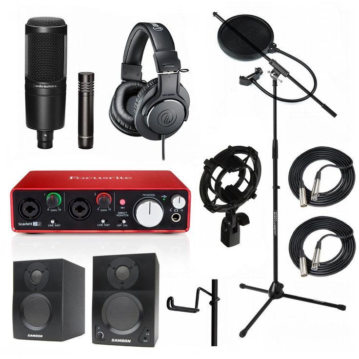 Home Recording Studio Bundle Audio Technica AT2041SP ATH-M20x AT8458 Stand Focusrite Scarlett 2i2 (2nd GEN) Samson Media ONE BT3 Speakers