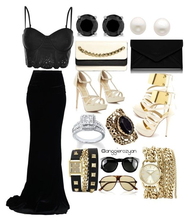 """Black party outfit"" by anggierozyan on Polyvore featuring Dsquared2, MINKPINK, Charlotte Russe, Valentino, Reeds Jewelers, L.K.Bennett, H&M, Vince Camuto, Anne Klein and CÉLINE"