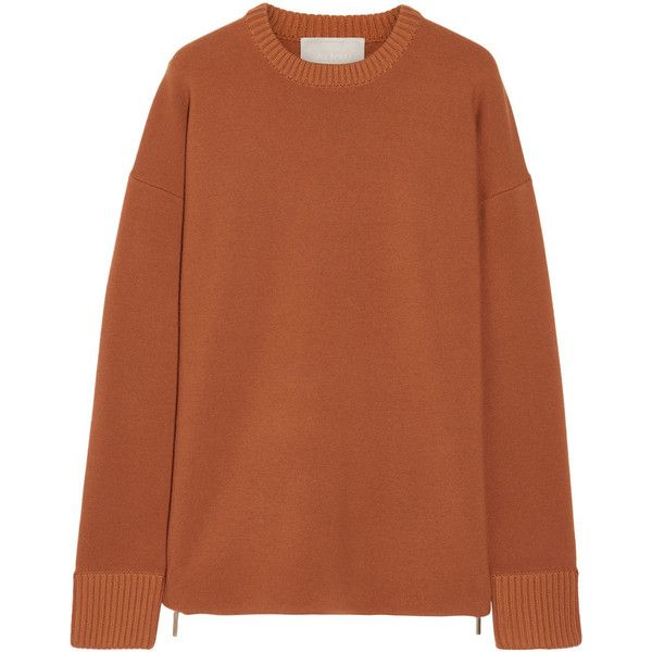 Jason Wu Oversized zip-detailed stretch-knit sweater (9 195 SEK) ❤ liked on Polyvore featuring tops, sweaters, orange, zip top, stretchy tops, brown sweater, over sized sweaters and jason wu