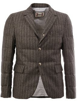 snap button pinstripe blazer