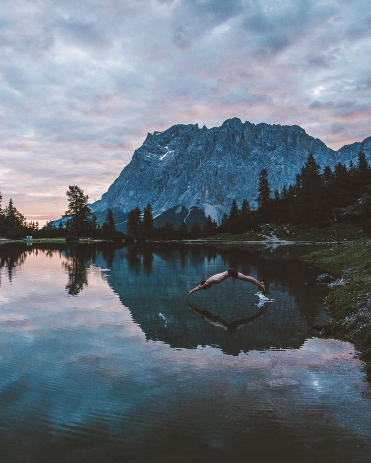 """Instagram snapshots: Jannik Obenhoff high on the Austria-Germany border. """" This picture was taken at Lake Seeben, Ehrwald, in Austria, shortly after sunrise. It was one of the coldest swims I've ever done."""""""