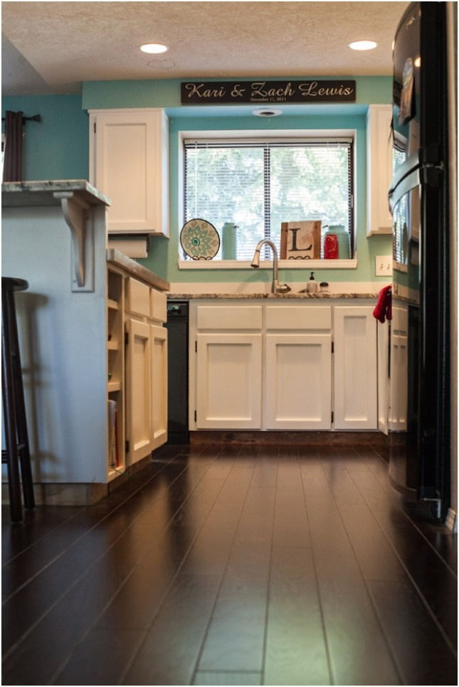 Kitchen Remodel: From Drab to Fab | Kari Rae Photography  Turquoise walls, dark hardwood floors, white cabinets. So happy!