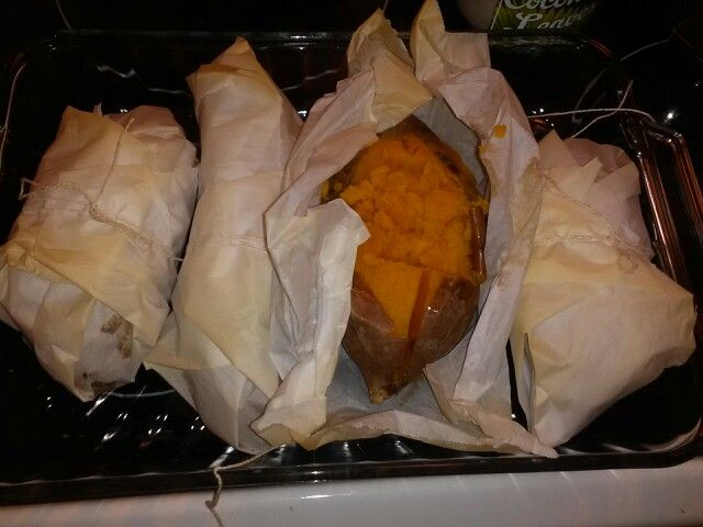 Perfectly cooked baked sweet potatoes. Totally aluminum free cooking. Simply scrub potatoes in citrus vinegar and water, rinse well with water. Poke holes in potatoes.Wrap in parchment paper, tie with cooking string, place in glass dish and bake in oven for 2 hours. Baking temperature: 420°