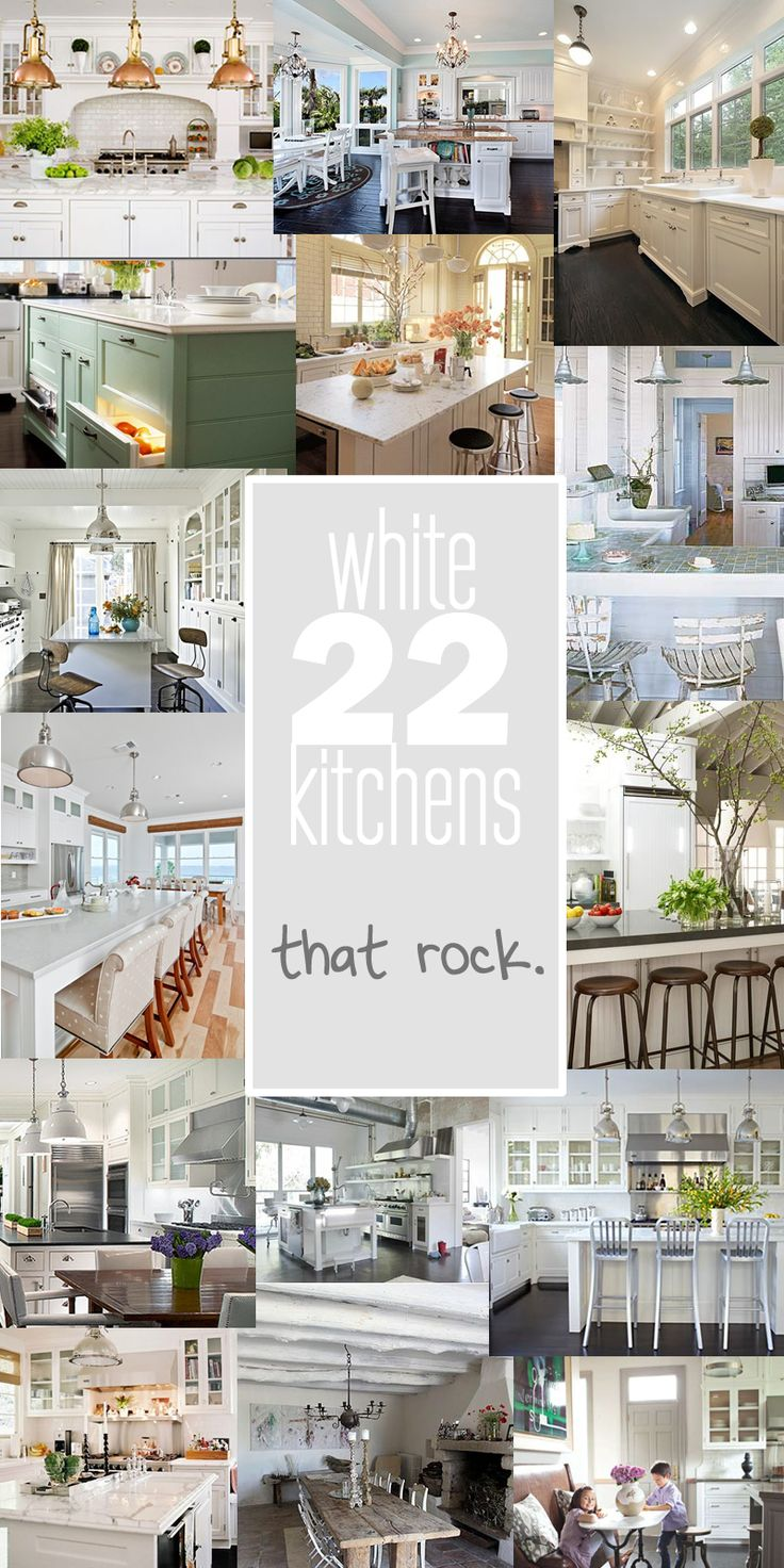 Space in the kitchen by adding shelves and glass canisters with seals - 22 Amazing White Kitchens Pin For Your Home