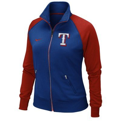 *****MEDIUM maybe small / Nike Texas Rangers Ladies Full Zip Track Jacket - Royal Blue/Red