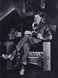 Photograph of Walter Burley Griffin, 1921 in a 'couch chair' which was…