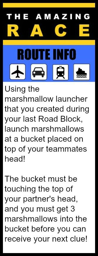 Amazing Race Route Info Marshmallow Into Bucket Great 11 Year Old Party Idea: The Amazing Race Birthday Party!