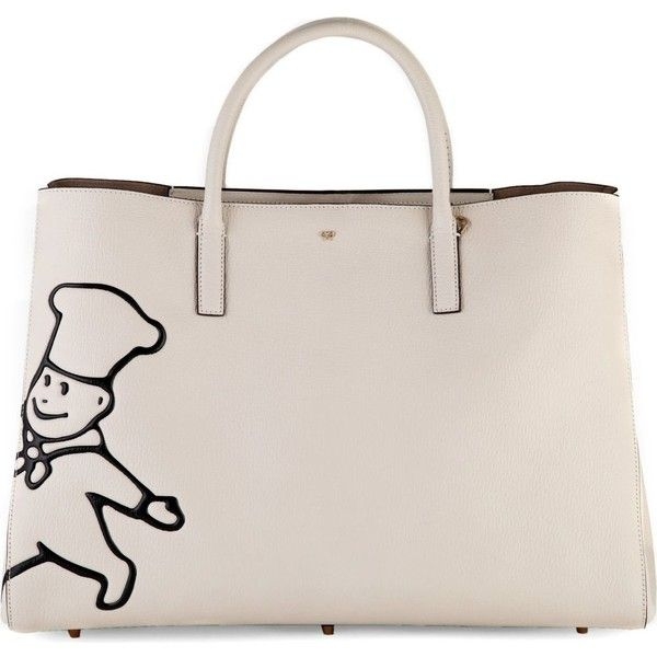 ANYA HINDMARCH Maxi featherweight ebury Little Chef leather tote (129.230 RUB) ❤ liked on Polyvore featuring bags, handbags, tote bags, chalk capra, pink tote, genuine leather tote bag, anya hindmarch tote, leather handbags and genuine leather tote