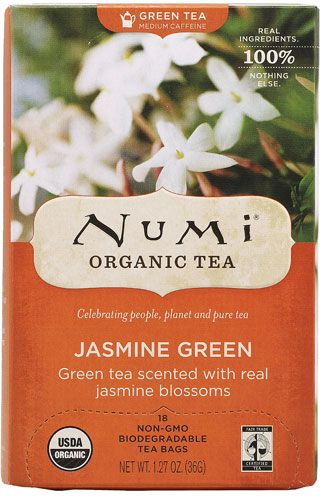 Numi Organic Tea Jasmine Green.  I tend to avoid green teas because I usually find them to be too bitter.  But this one I love!