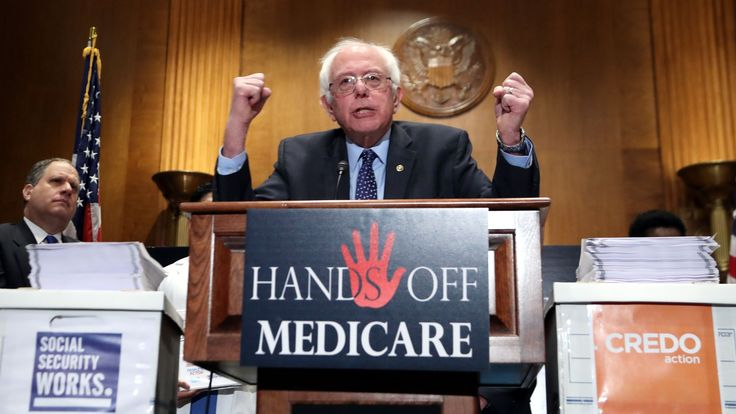"""Sen. Bernie Sanders, I-Vt., speaks during a news conference on Capitol Hill in Washington, Wednesday, Dec. 7, 2016, to deliver over million petition signatures demanding that President-elect Donald Trump, House Speaker Paul Ryan, and Senate Majority Leader Mitch McConnell """"keep their hands off the American people's earned Medicare benefits."""""""