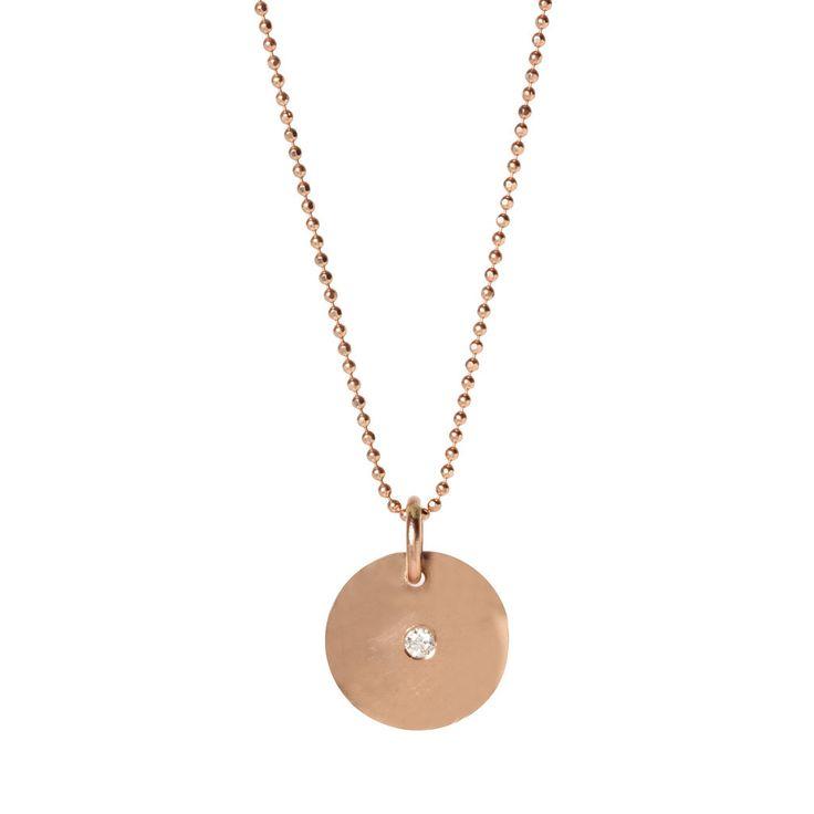 14k Diamond Disc Necklace - Zoe Chicco