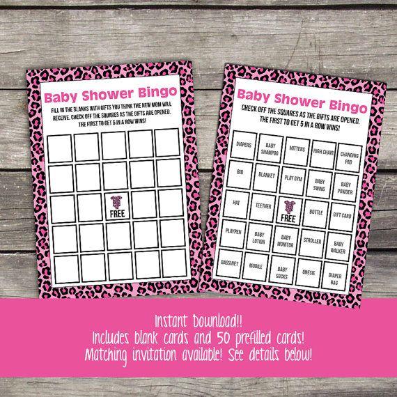 pink leopard print baby shower bingo game cheetah bingo baby shower games pink