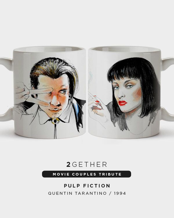 Pack 2 tazas Two Mugs Pulp Fiction Quentin Tarantino Lovers Movie Mugs 2Gether Valentine Parejas Regalo cine Movie Cinema Mug Gift by BagApart on Etsy https://www.etsy.com/listing/266391798/pack-2-tazas-two-mugs-pulp-fiction