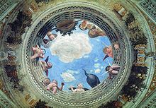 Ceiling Oculus of the Camera degli Sposi - Andrea Mantegna.  c. 1471-74.  Fresco.  Palazzo Ducale, Mantua, Italy.