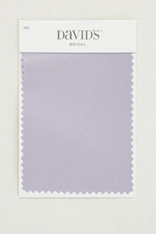 5 1/2 by 3 1/2 inch satin swatch. Available for all colors in David's Bridal's exclusive color palette. Get your color swatches to perfectly coordinate your big day!  Ships for FREE!  Fabric Swatch shown in Iris.