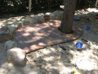 Unique A deck around the tree in the sandpit Tessa Rose Landscapes