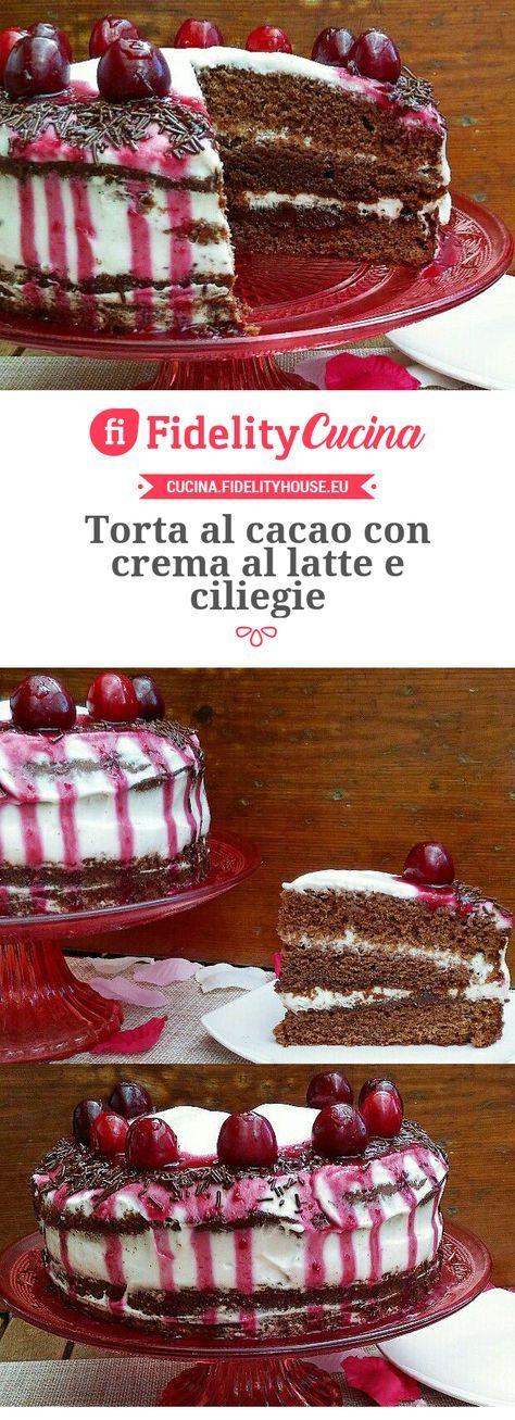 Torta al cacao con crema al latte e ciliegie