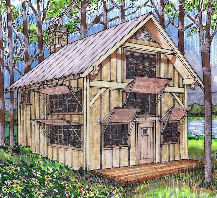 Lakefront Cottage Design Idea Observation Loft: 20×24 Timber Frame Plan With Loft