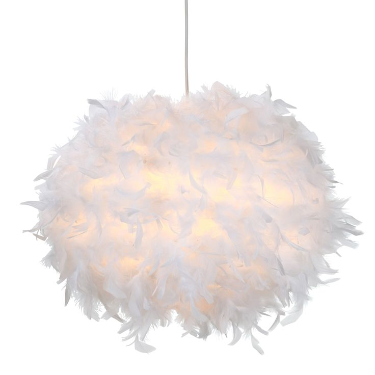 B And Q Lighting Ceiling: Colours Melito White Feather Ball Light Shade (D)40cm | Feathers, Love and  Swans,Lighting