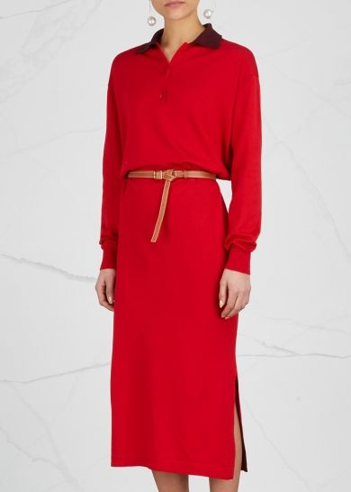 Loewe red knitted cotton dress Dark plum contrast collar, dropped shoulders, button-fastening neck, detachable brown leather belt, split sides, ribbed trims Slips on 100% cotton