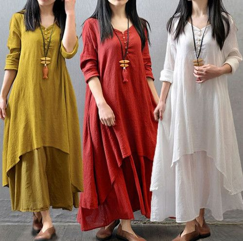 Yellow Maxi Dress Plus Sizes 3XL,4XL,5XL Linen Cotton Breathable Dress
