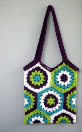 Hexagon bag crochet free pattern Crochet bags Pinterest