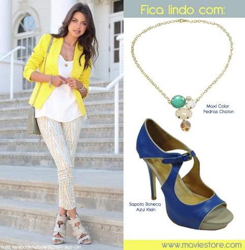 Quando vimos esse look blazer amarelo + calças jeans estampada pensamos logo no Sapato Boneca Azul Klein http://bit.ly/HUFnvh e no Maxi Colar de Pedras Chaton http://bit.ly/JQpmLd    Não ficaria uma graça? :)