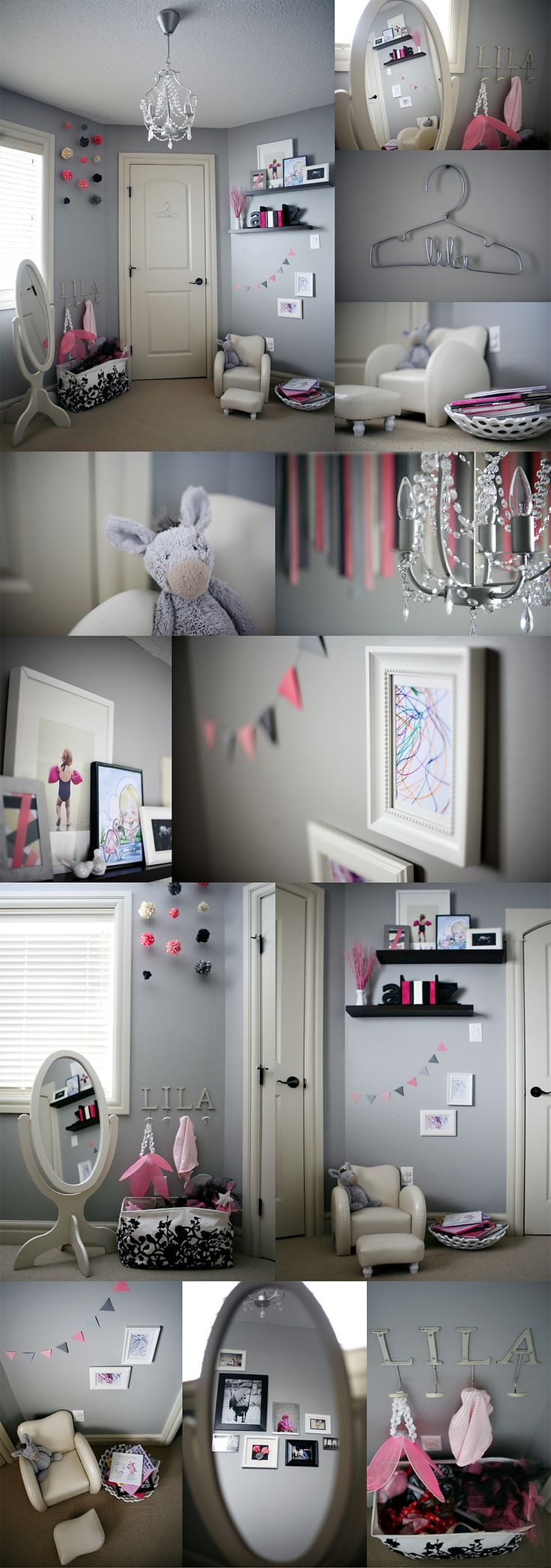 I am in love with this color scheme...i am going to do this grey pink white and black theme in my 3 yr old's room...the grey is nice.