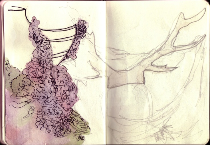Sketch of Alexander McQueen's pieces, pencil/watercolour/fineliner - more at showtimestitches.blogspot.com