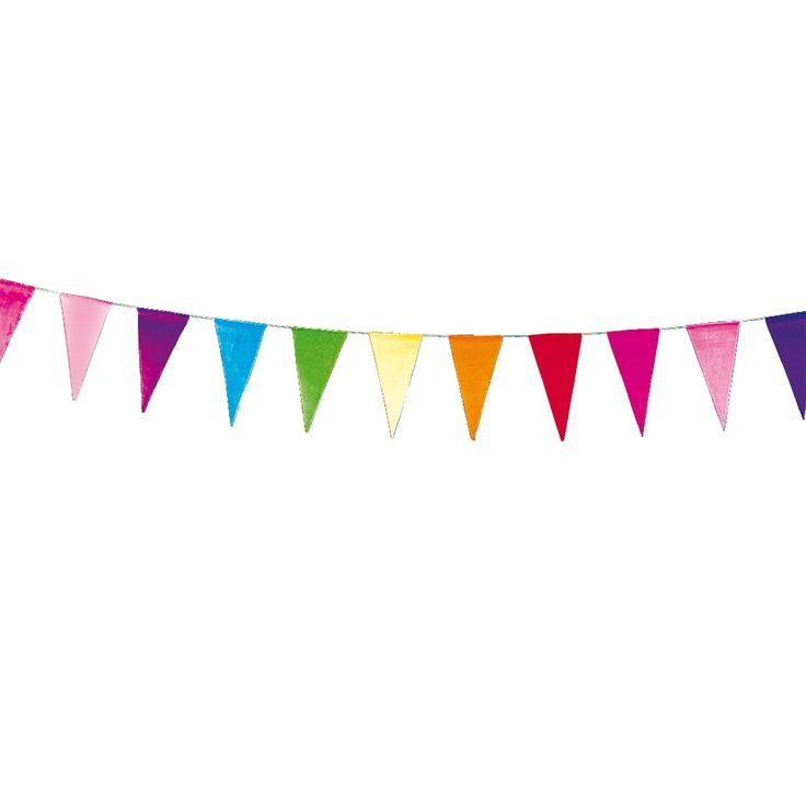 Vlaggenlijn wimpel met verschillende kleuren vlaggen.Afmeting:  lengte 10 meter - Vlaggenlijn Wimpel, 10mtr. BT