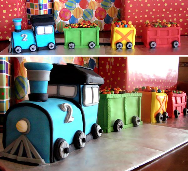 Gorgeous train cake. Would love to replicate this for one of the boys' birthdays this summer