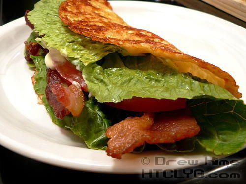 """Oh. My. Goodness. The """"wrap"""" is made of cheese. It's a BLT with no bread whatsoever. So basically all the best parts of a BLT without the filler. Heck yes.#low carb"""