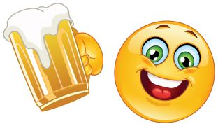 emoticon drinking beer sticker