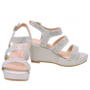 9535e0245e1d22 Bella Marie Little Girls Silver Glitter Rhinestone Wedge Sandals 9-10  Toddler
