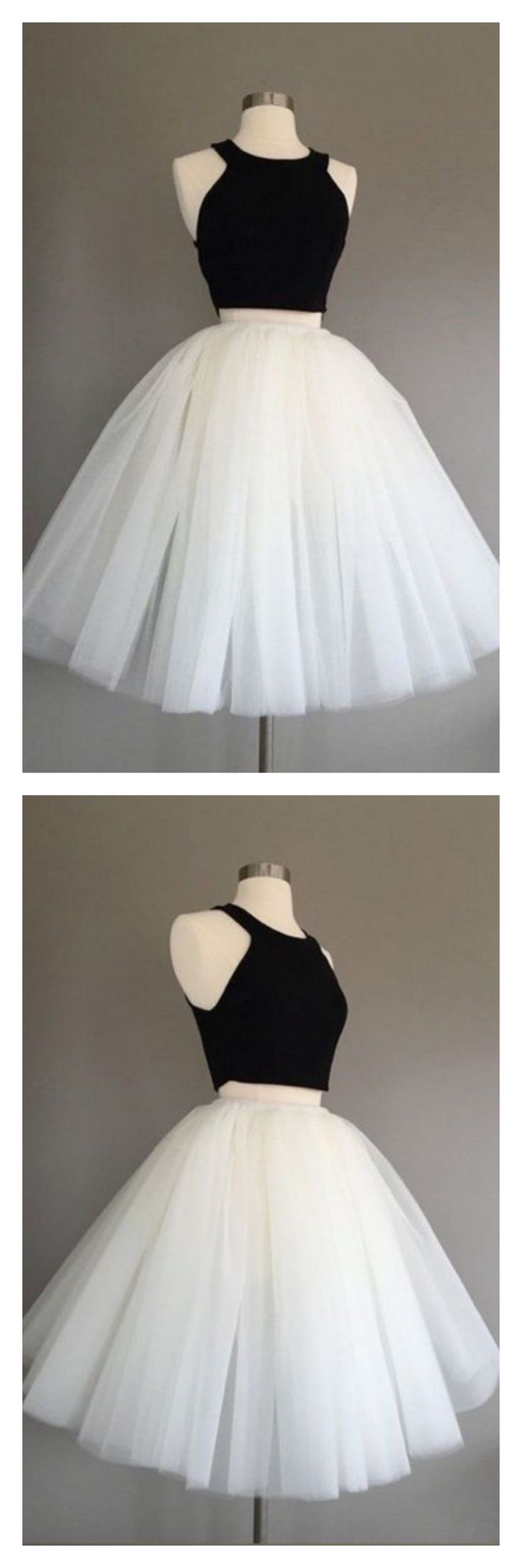 black and white  homecoming dresses, 2k17 homecoming dresses,two pieces  homecoming dresses,knee length homecoming dresses, tulle  cocktail dresses, party dresses, graduation dresses,prom dresses #SIMIBridal #homecomingdresses