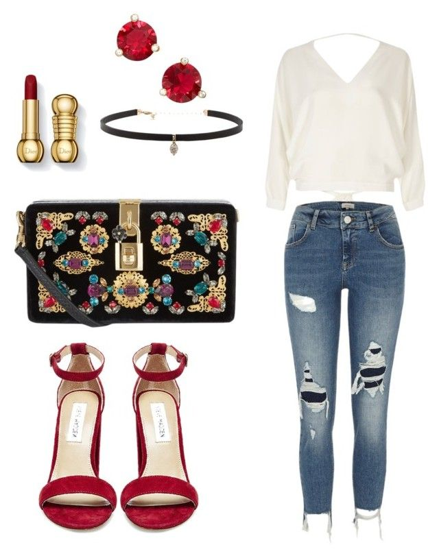 """Date Night Glam 🌹"" by lilasiaan on Polyvore featuring River Island, Steve Madden, Kate Spade, Dolce&Gabbana, Carbon & Hyde, DateNight, outfit, red, jeans and glam"