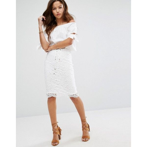 Moon River Lace Up Edge Lace Skirt (£43) ❤ liked on Polyvore featuring skirts, white, high-waist skirt, lace skirt, high waisted bodycon skirt, white knee length skirt and crochet lace skirt