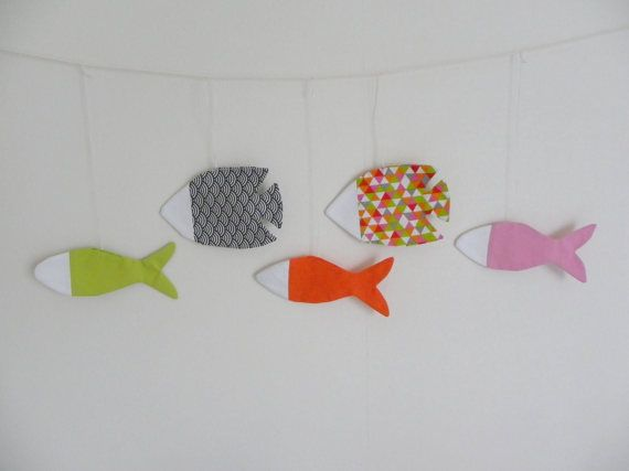 Fish Garland Fabric Fish White Orange Green Gray Pink Flag Banner