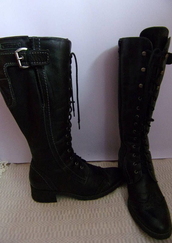Vintage Women's BootsTamaris Leather Boots Black Genuine
