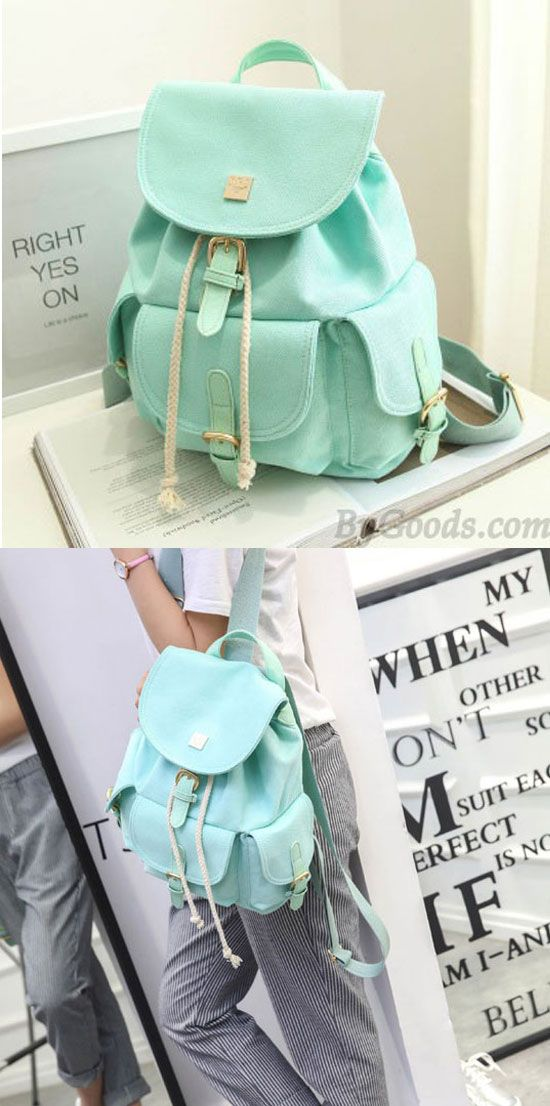 Sweet Candy Canvas College Rucksack Mint Green Pure Color Girls Backpack for big sale! #mint #green #Backpack #sweet #bag #rucksack