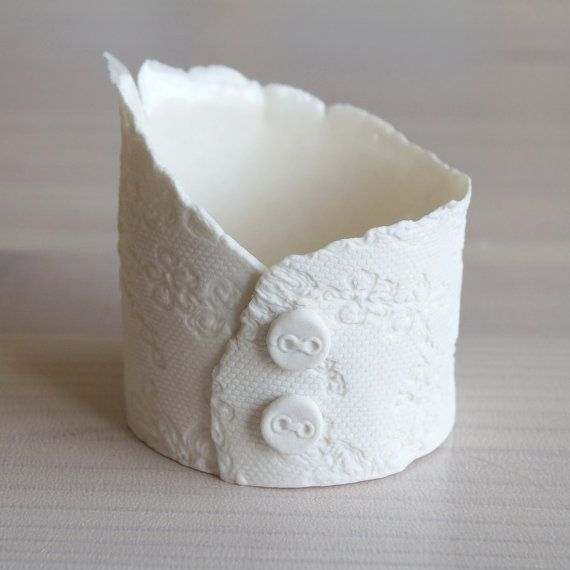 Tealight holder ceramic votive candles vessel white by VanillaKiln, £15.00
