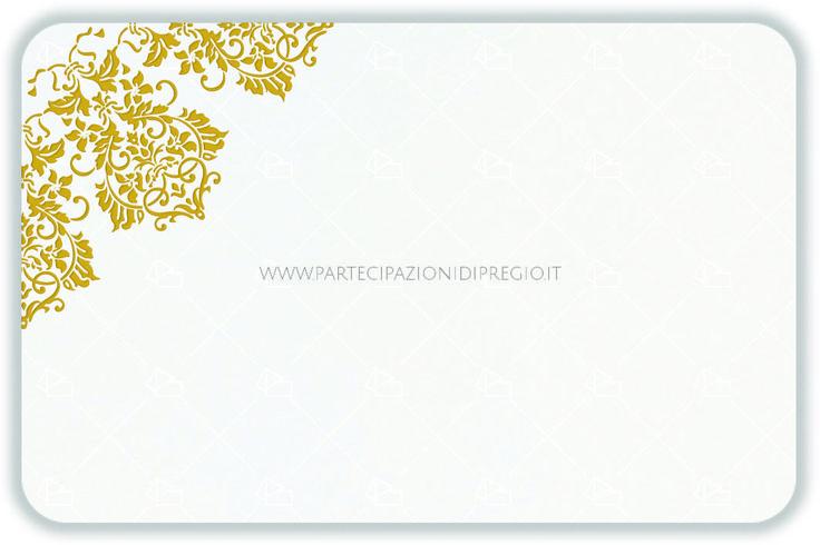 Partecipazione matrimonio - dimensione: 17 x 11 - forma: Rettangolare angoli arrotondati - carta: Gmund Cotton - Max White - 300, 600, 900 gr. - linea: trama - modello: fregio Andrea angolare ver. 2 - lavorazione press: trama
