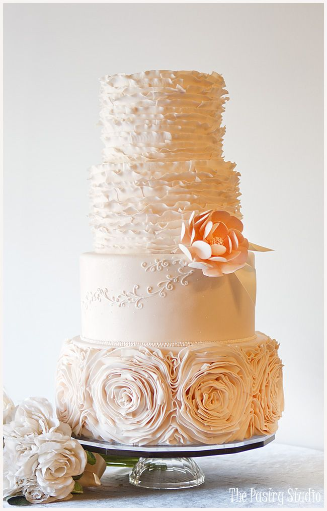 I like just one rose level. Jaw-Droppingly Beautiful Wedding Cake Inspiration from The Pastry Studio. To see more: http://www.modwedding.com/2014/04/16/beautiful-wedding-cake-inspiration/ #wedding #weddings #cake Featured Cake Design: The Pastry Studio