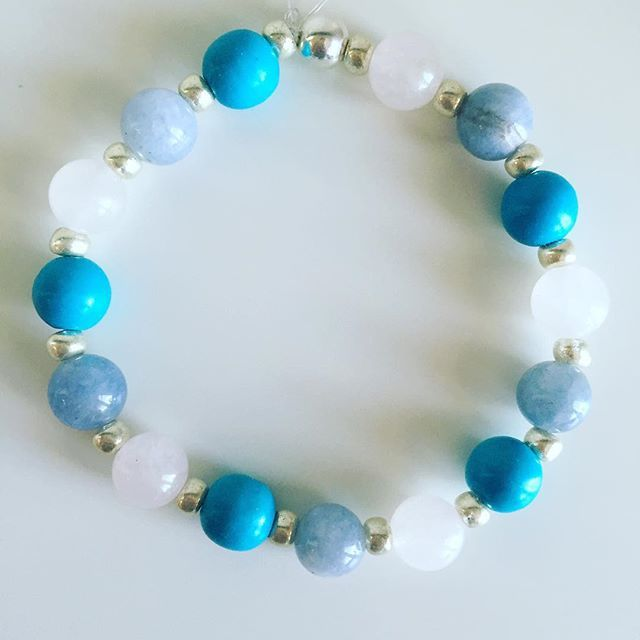 ♎️ Libra bracelet: Aquamarine, Blue Howlite, Rose Quartz, Czech rocailles, Silver Price EUR 20 (plus EUR 4 for international registered shipping, and EUR 4 for optional gift package). For your personal bracelet, contact me on e-mail in bio.  #bracelet #bracelets #semipreciousstones #libra #zodiac #sign #rosequartz #aquamarine #howlite #silver #armcandy #armparty #jewellery #jewelry #jewellerymaking #jewellerybrand #jewellerydesign #czechbrand #ombljewellery #dowhatyoulove