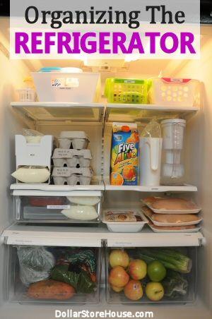 Organizing the Refrigerator using dollar store bins {www.DollarStoreHouse.com} #organizing