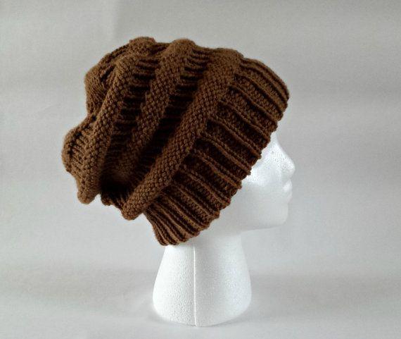 Knit slouchy beanie knit slouch hat oversized by KnittingbyKali